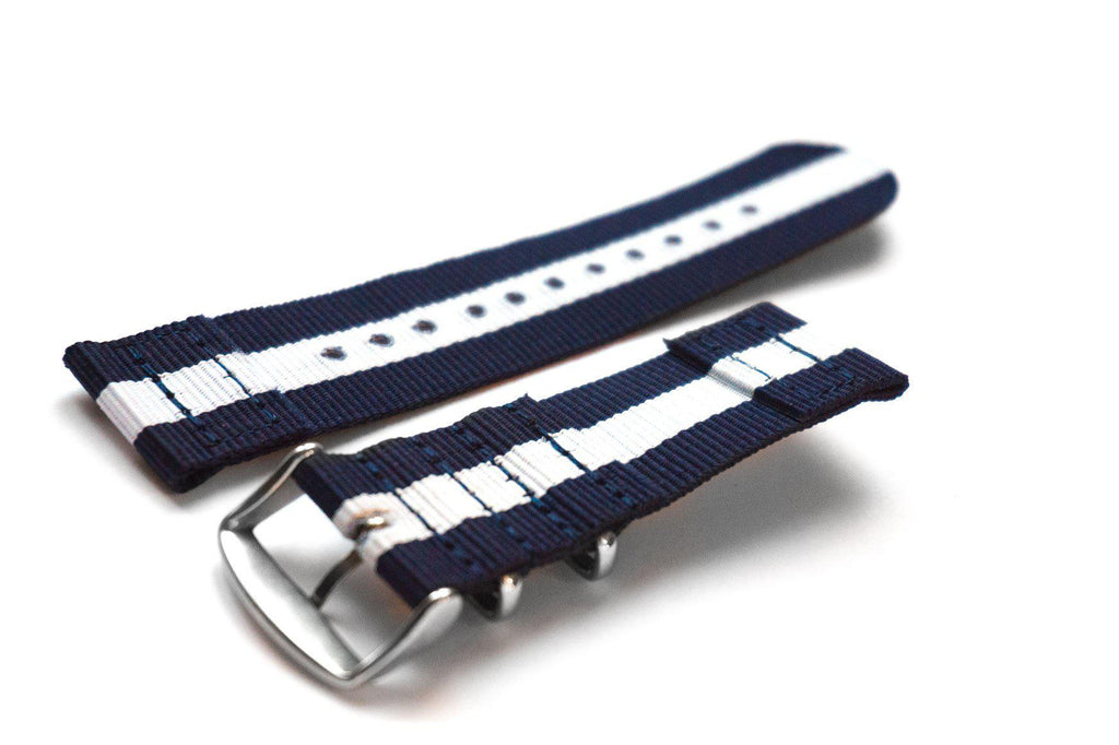 Two Piece NATO Strap Navy and White - Cheapest NATO Straps  - 2