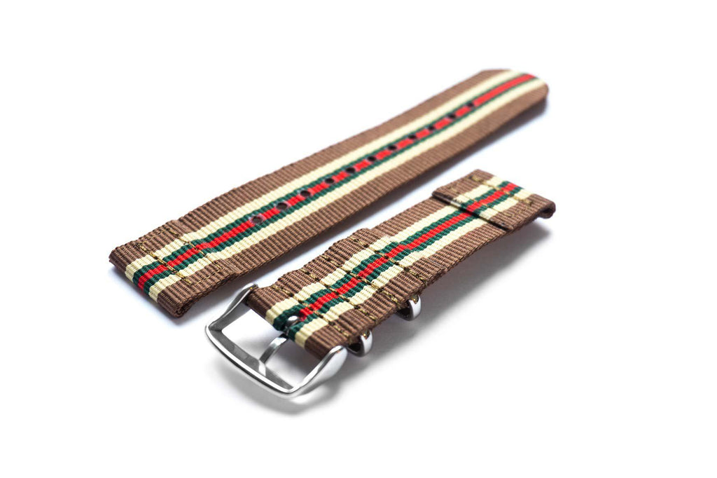 Two Piece NATO Strap Brown, Beige, Green and Red - Cheapest NATO Straps  - 2