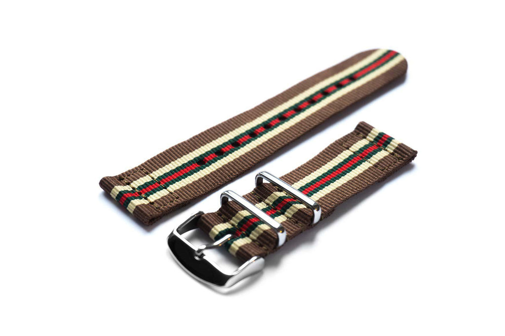 Two Piece NATO Strap Brown, Beige, Green and Red - Cheapest NATO Straps  - 1