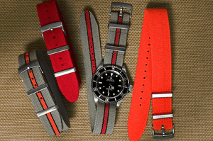 Elastic Single Pass Strap Scuba Orange (20 & 22 mm)