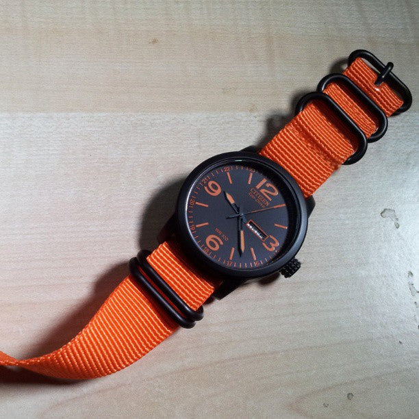 Extra Long PVD Zulu Strap 5-ring Orange - Cheapest NATO Straps  - 4