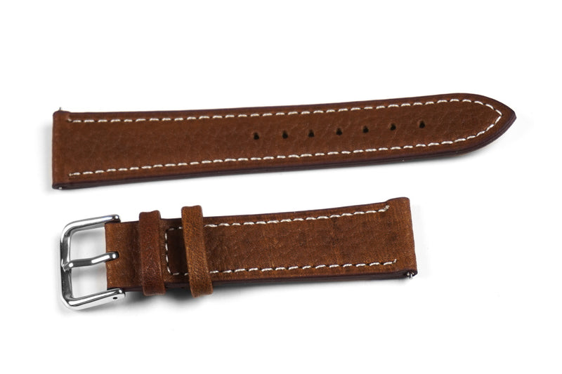 Classic Brown with white stitching (16 & 24 mm)