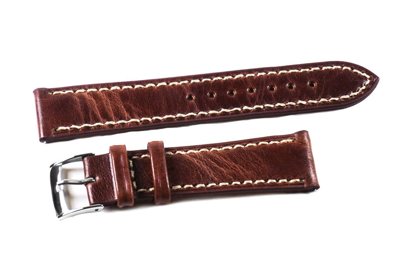 Classic Mahogany with white stitching (16, 19 & 24 mm)