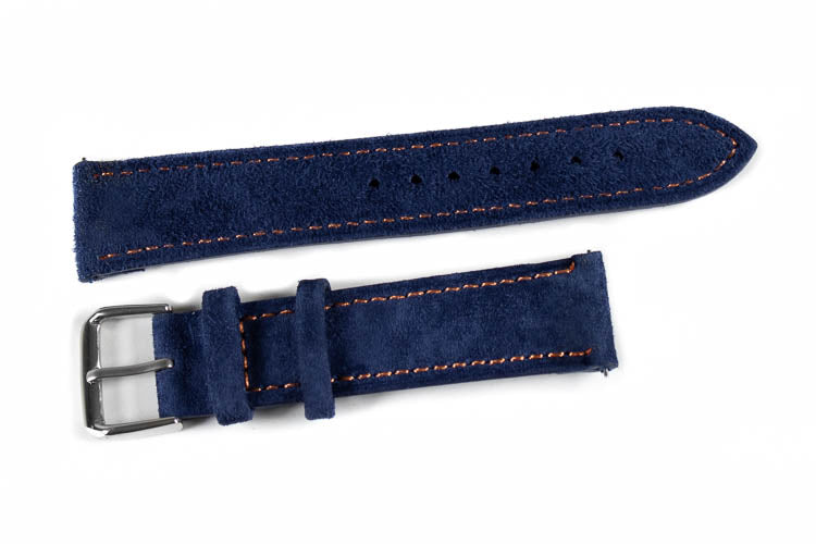 Classic Suede Navy with orange stitching