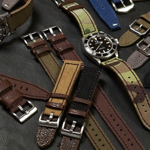Rough Cut Leather and Canvas Brown (21 & 24 mm)