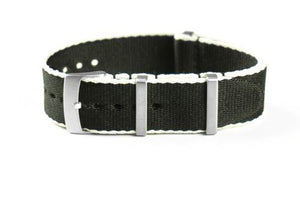 Deluxe Brushed Seat Belt NATO Black and white
