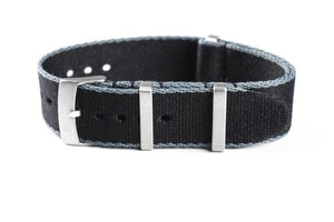 Deluxe Brushed Seat Belt NATO Black and gray