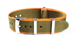 Deluxe Seat Belt NATO Khaki Green and Orange