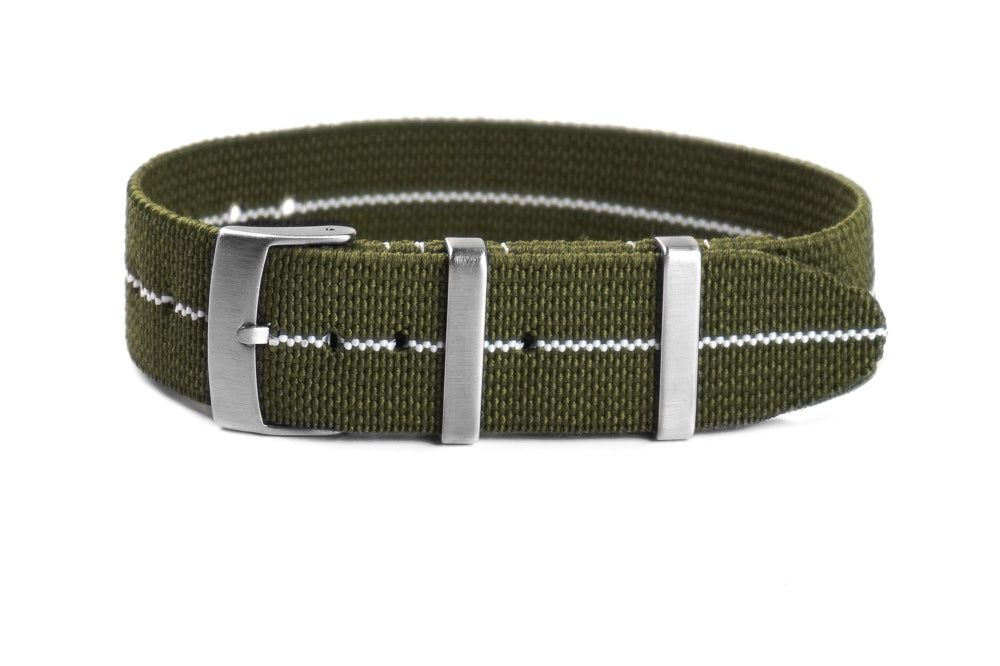Elastic Single Pass Strap Khaki Green and White (18, 19, 20, 21, 22 & 24 mm)