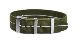 Elastic Single Pass Strap Khaki Green and White (19 & 21 mm)