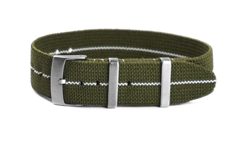 Elastic Single Pass Strap Khaki Green and White (18, 19, 21 & 24 mm)