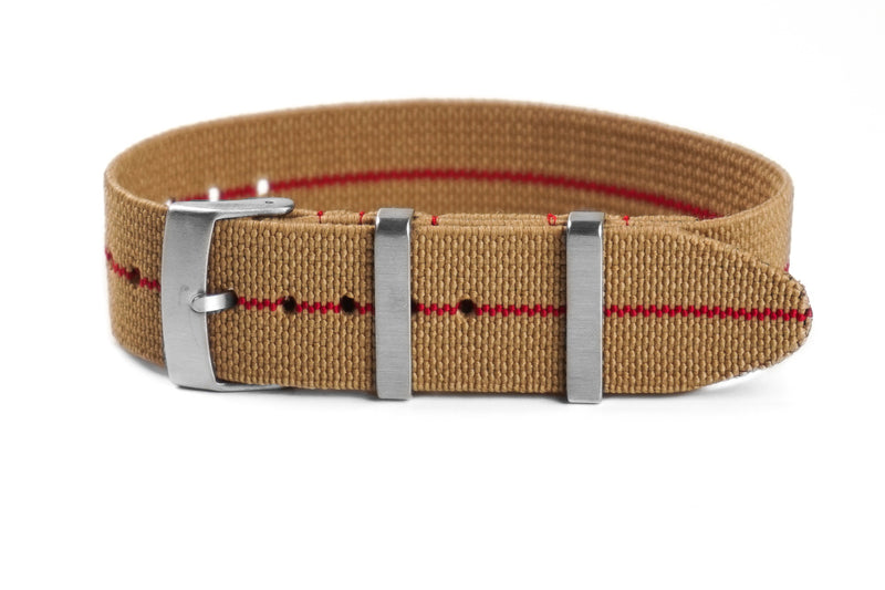 Elastic Single Pass Strap Khaki and Red  (18, 19, 20, 21 & 22 mm)