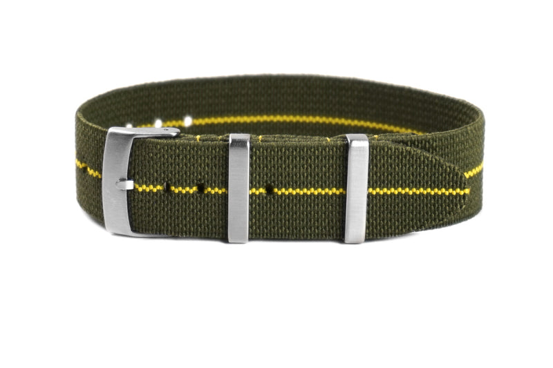 Elastic Single Pass Strap Khaki Green and Yellow (18, 19, 20, 21, 22 & 24 mm)