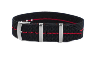 Elastic Single Pass Strap Black and Red  (18, 19 & 21 mm)