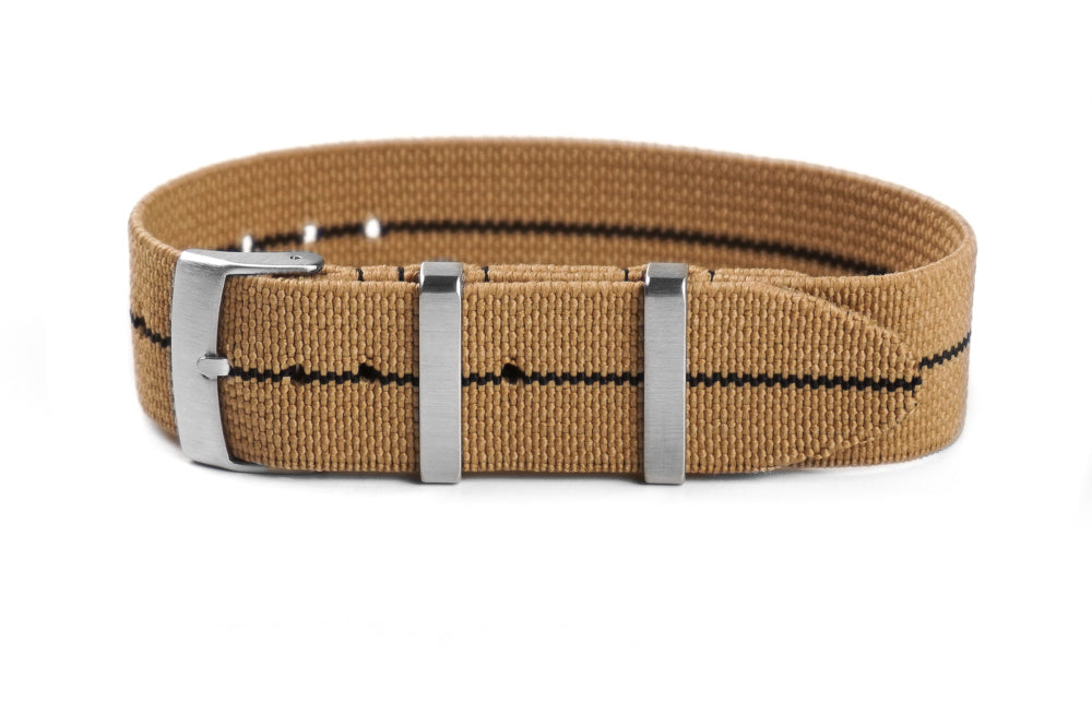Elastic Single Pass Strap Khaki and Black (18, 19, 20, 21 & 22 mm)