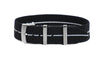 Elastic Single Pass Strap Black and White  (18, 19, 20, 21 & 22 mm)