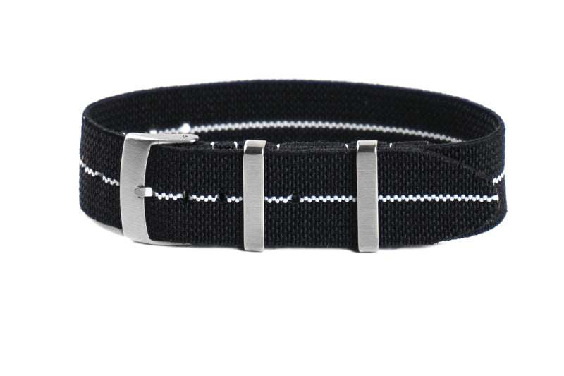 Elastic Single Pass Strap Black and White  (19, 20 & 21 mm)