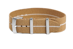 Elastic Single Pass Strap Khaki and White (18, 19, 21, 22 & 24 mm)