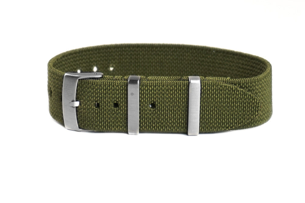 Elastic Single Pass Strap Khaki Green  (18, 19, 21 & 22 mm)