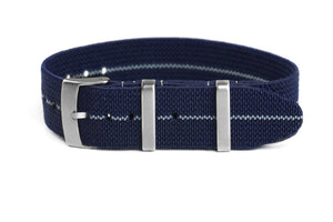 Elastic Single Pass Strap Navy and Gray (18, 19, 20 & 21 mm)