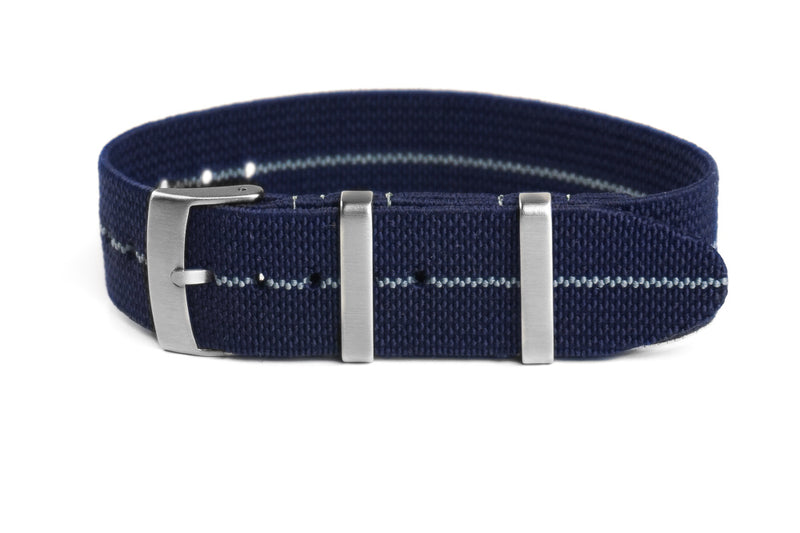 Elastic Single Pass Strap Navy and Gray (19 & 21 mm)