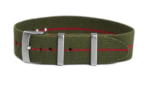 Elastic Single Pass Strap Khaki Green and Red  (19 & 21 mm)