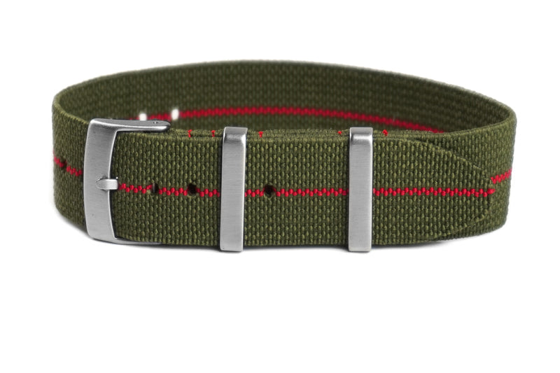 Elastic Single Pass Strap Khaki Green and Red  (18, 19, 20, 21 & 22 mm)