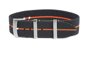 Elastic Single Pass Strap Black and Orange (18, 19, 20, 21 & 22 mm)