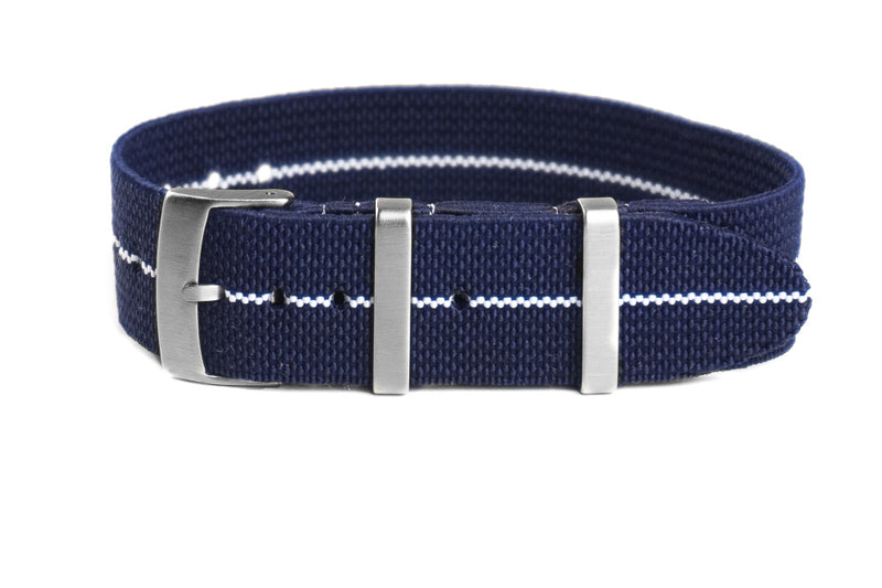 Elastic Single Pass Strap Navy and White (18, 19, 21 & 24 mm)
