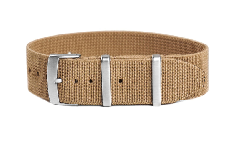 Elastic Single Pass Strap Khaki  (18, 19, 21 & 22 mm)