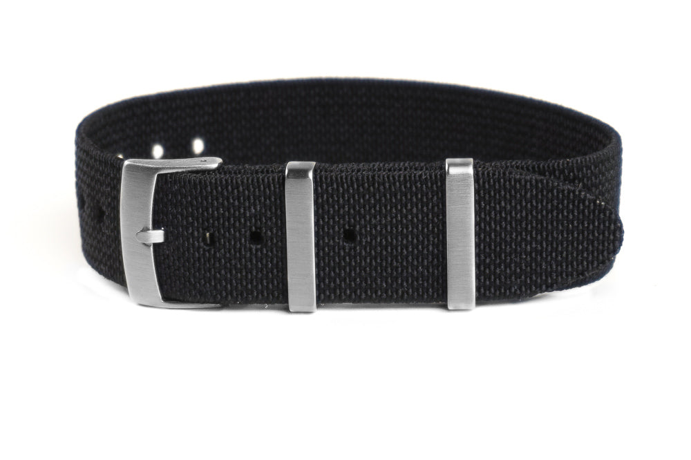 Elastic Single Pass Strap Black (18, 19, 20, 21, 22 & 24 mm)