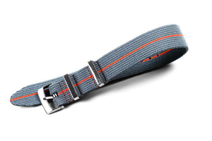 Elastic Single Pass Strap Gray and Orange (18, 19, 20, 21 & 22 mm)