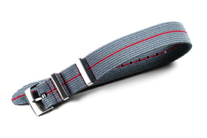 Elastic Single Pass Strap Gray and Red (18, 19, 20, 21 & 22 mm)