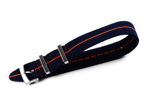 Elastic Single Pass Strap Navy and Orange (18, 19, 20, 21 & 22 mm)