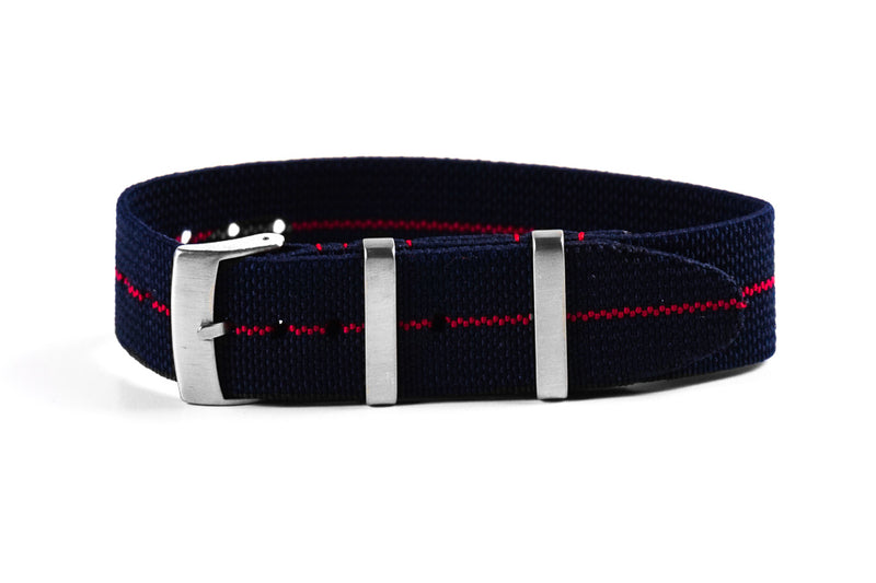 Elastic Single Pass Strap Navy and Red (18, 19, 21 & 24 mm)