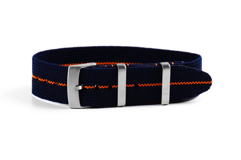 Elastic Single Pass Strap Navy and Orange (19, 20, 21 & 22 mm)