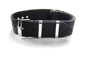 Deluxe Seat Belt NATO Black with Red stitching