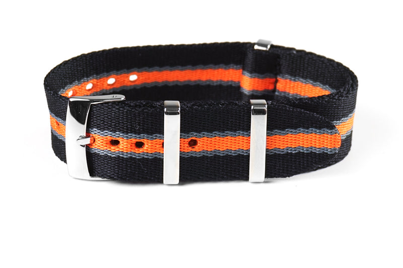 Deluxe Seat Belt NATO Black, Gray and Orange