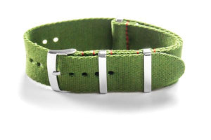 Deluxe Seat Belt NATO Khaki green with Red stitching (20 & 22 mm)