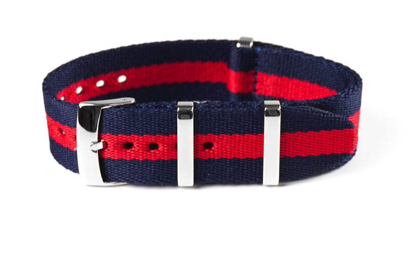 Deluxe Seat Belt NATO Navy and Red (20 & 22 mm)