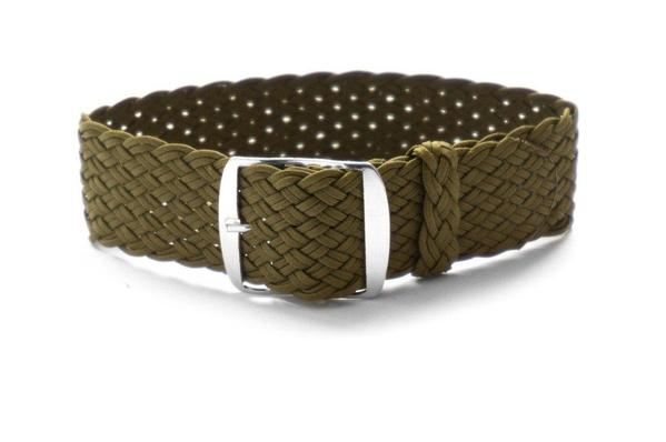 Premium Double Woven Perlon Strap Khaki Green (20 & 22 mm)