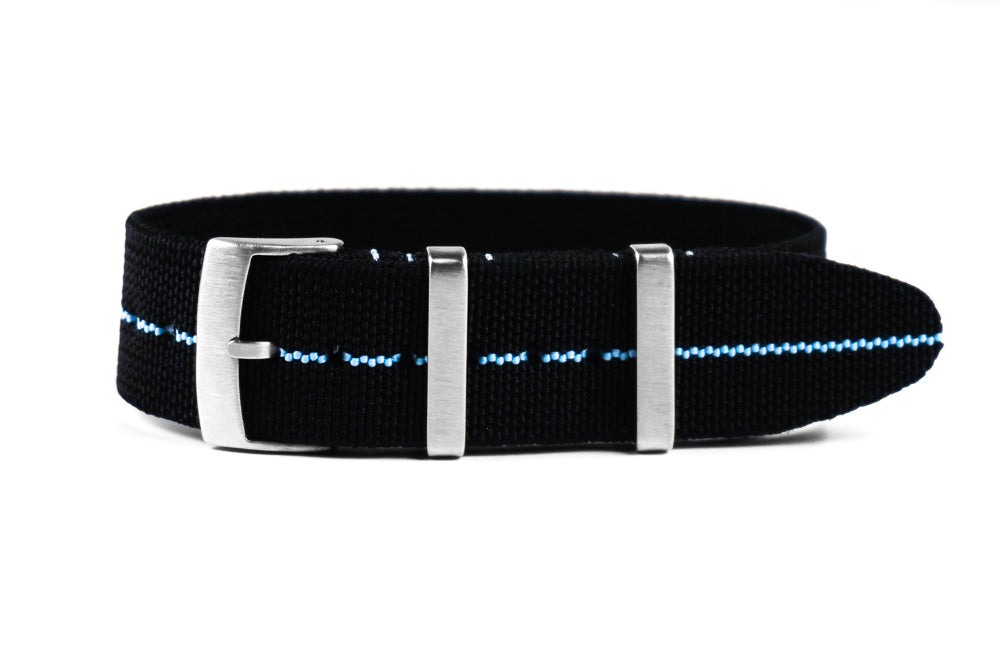 Elastic Single Pass Strap Black and Blue (18, 19, 20, 21 & 22 mm)