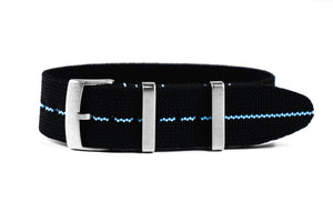 Elastic Single Pass Strap Black and Blue (19, 20, 21 & 22 mm)