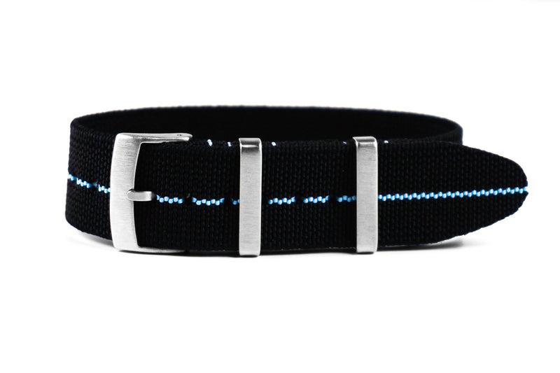 Elastic Single Pass Strap Black and Blue (19 & 21 mm)
