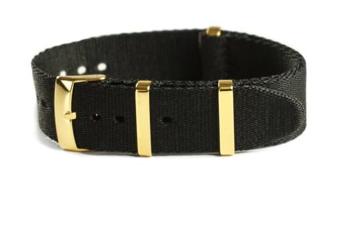 Gold Deluxe Seat Belt NATO Black (18, 20 & 22 mm)