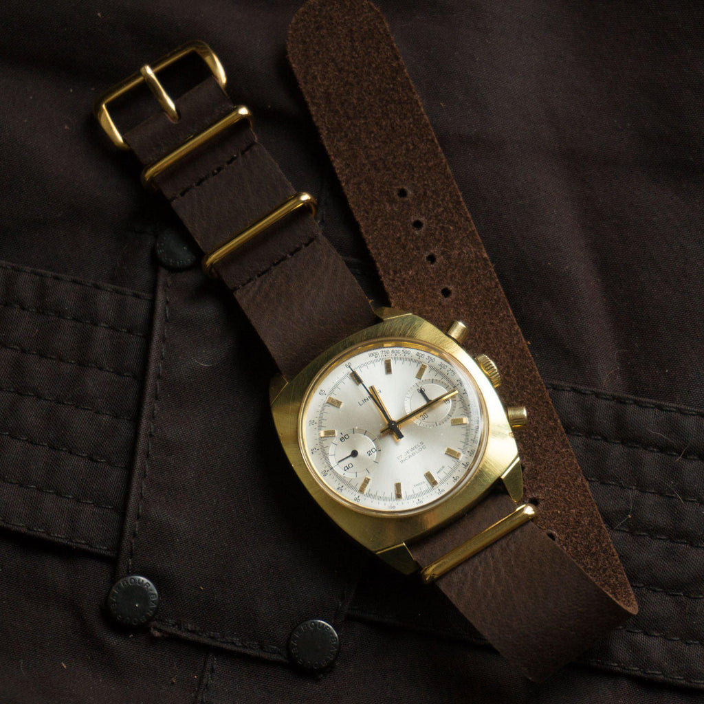 Gold Leather NATO Strap Dark Brown Vintage - Cheapest NATO Straps  - 3
