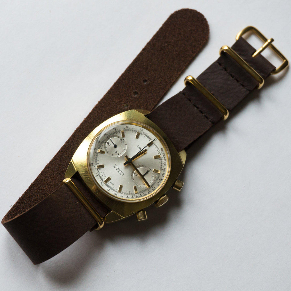 Gold Leather NATO Strap Dark Brown Vintage - Cheapest NATO Straps  - 4