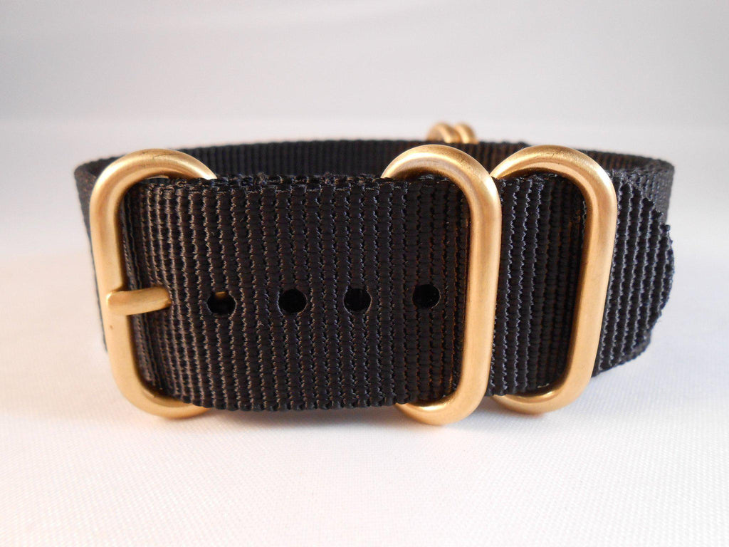 Gold Zulu strap 5-ring Black - Cheapest NATO Straps  - 3
