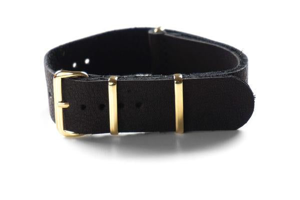 Gold Leather NATO Strap Black (18 & 22 mm)
