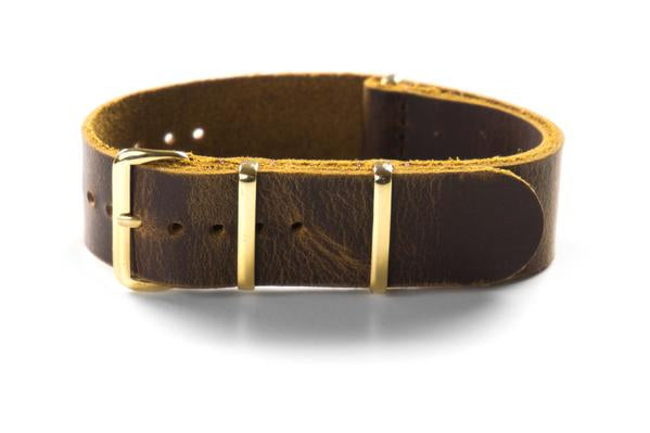 Gold Leather NATO Strap Chocolate